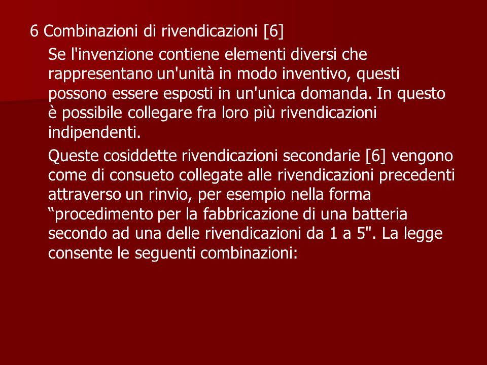 6 Combinazioni di rivendicazioni [6]